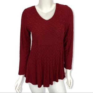Habitat Textured Tunic Top Small Burgundy Stretch